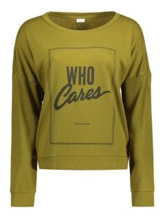jdycamille l/s sweat jrs 15123193 jacqueline de yong sweater fir green/who cares