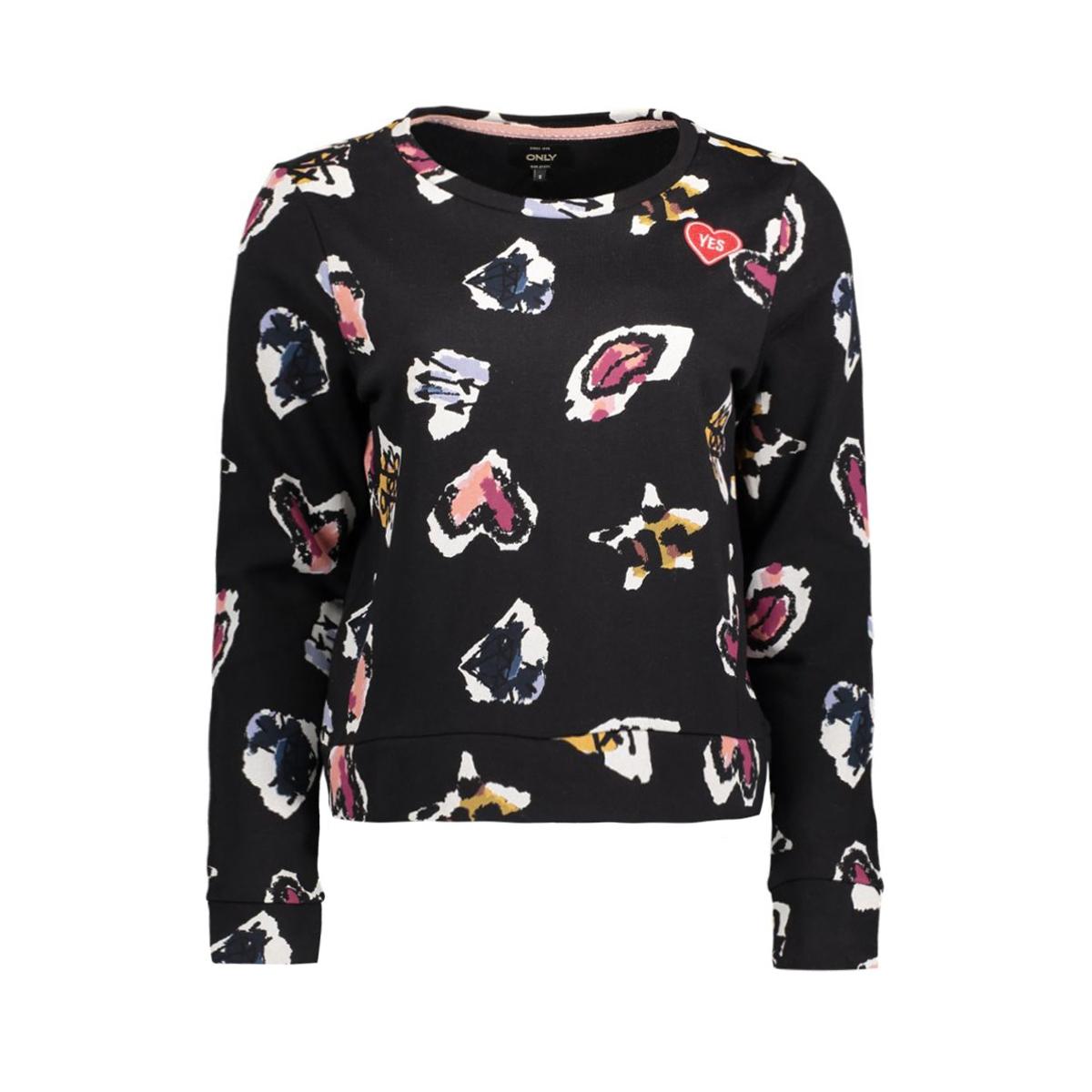 onlmonica l/s punk heart oneck swt 15130902 only sweater black/punk heart