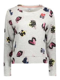 onlmonica l/s punk heart oneck swt 15130902 only sweater light grey/punk