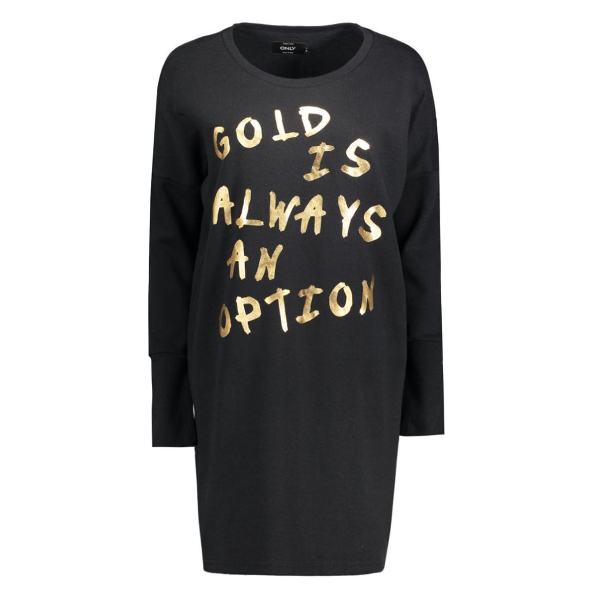 onllange l/s sweat dress swt 15126983 only jurk black/gold