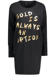 Only Jurk onlLANGE L/S SWEAT DRESS SWT 15126983 Black/Gold