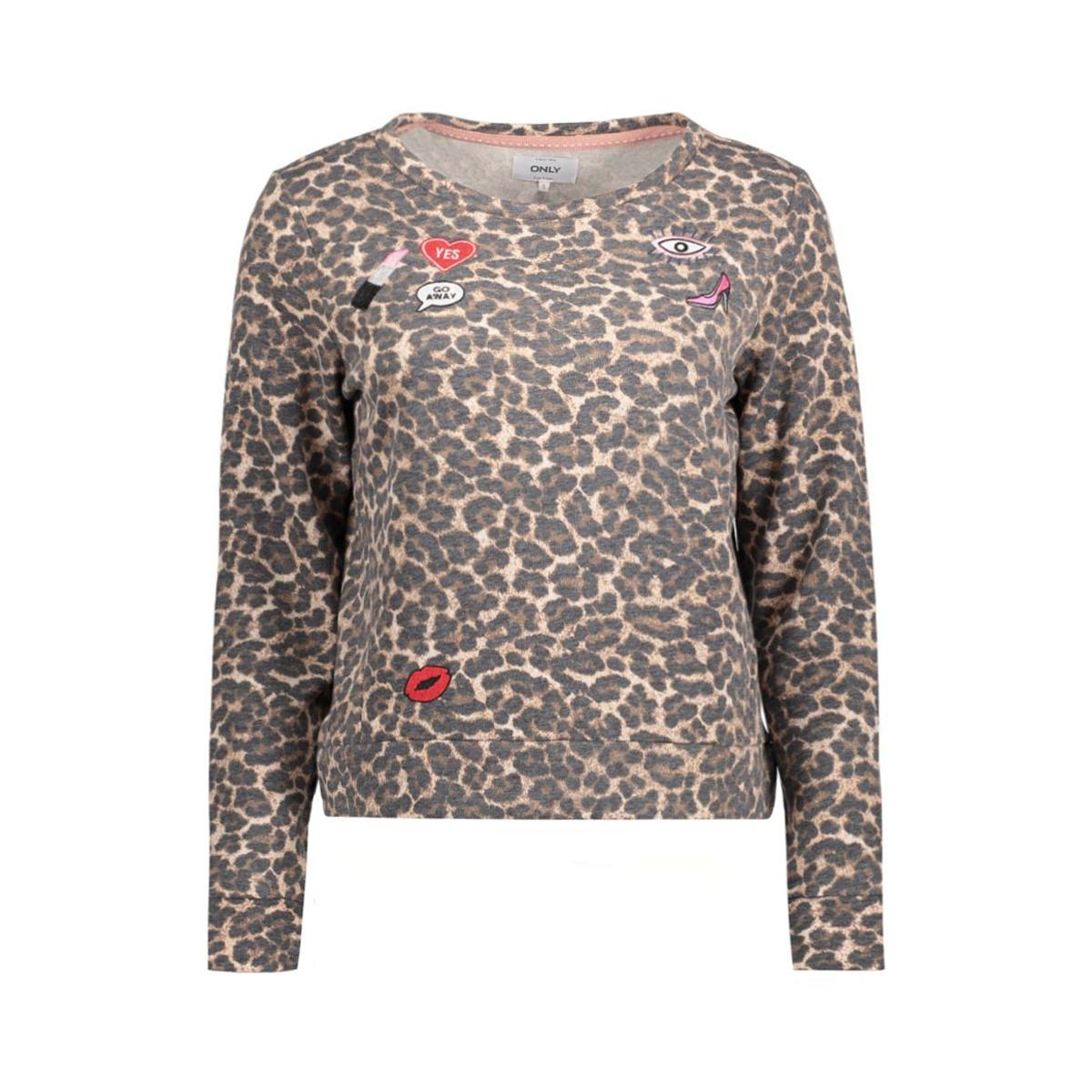 onlmonica l/s leo oneck swt 15128948 only sweater pumice stone/leopard