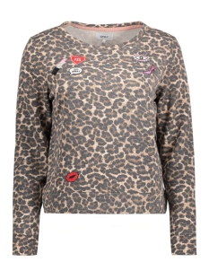 Only Sweater onlMONICA L/S LEO ONECK SWT 15128948 Pumice stone/Leopard