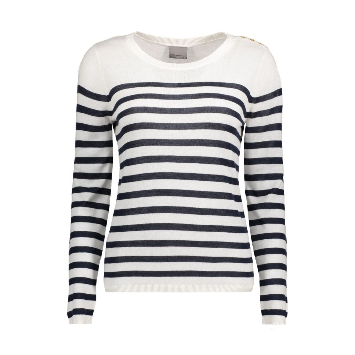 vmmemos ls button blouse local 10161497 vero moda trui snow white/w. navy bl