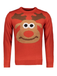 Only & Sons Trui onsCHRIS DEER CREW NECK KNIT EXP 22003783 Pompeian Red