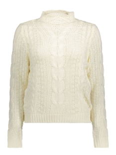 Noisy may Trui NMSUSHI L/S HIGH NECK CABLE KNIT 10160122 Snow White