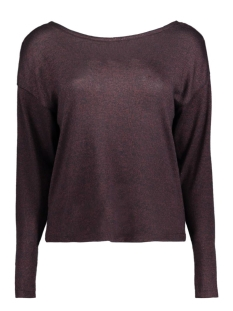 Noisy may Trui NMPEACH L/S OPEN BACK KNIT TOP 10162077 Decadent Chocol/With Black