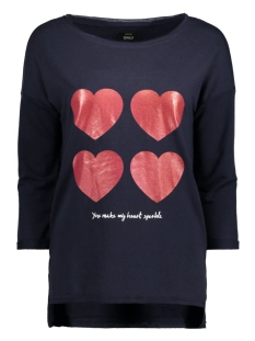 Only T-shirt onlCLARA 3/4 ONECK PRINT BOX SWT 15128698 Night Sky/Hearts