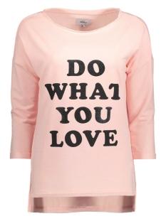 Only T-shirt onlCLARA 3/4 ONECK PRINT BOX SWT 15128698 Peachy Keen/Love