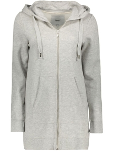 onlCALM L/S ZIP HOOD LONG SWT 15128774 Light Grey Melange