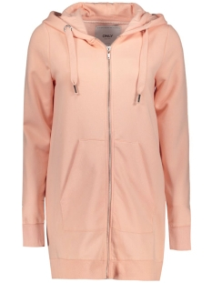 Only Vest onlCALM L/S ZIP HOOD LONG SWT 15128774 Peachy Keen