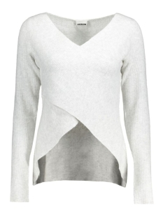 NMPERCY L/S V-NECK  KNIT 10170952 Snow White/Melange