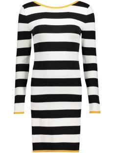 Only Jurk onlLISA L/S SHORT TURNAROUND DRESS 15133425 Cloud Dancer/W. Black/Y