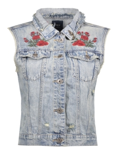 Only Gilet onlFLORA DNM EMB WAISTCOAT BJ9072-1 15133449 Light BLue Denim