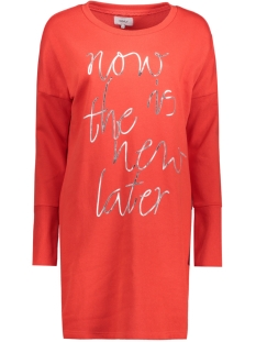 Only Jurk onlNEW LANGE L/S SWEAT DRESS SWT 15145824 High Risk Red/ Silver Foil