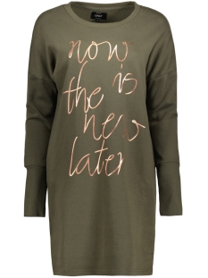Only Jurk onlNEW LANGE L/S SWEAT DRESS SWT 15145824 Kalamata/Rose Gold