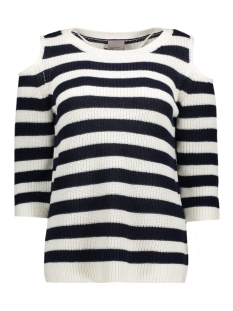 Vero Moda Trui VMSAILOR 3/4 O-NECK BLOUSE 10172038 Snow White/ W. Navy Bl