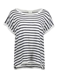 vistarly stripe s/s knit top/1 14043689 vila t-shirt cloud dancer/total eclips