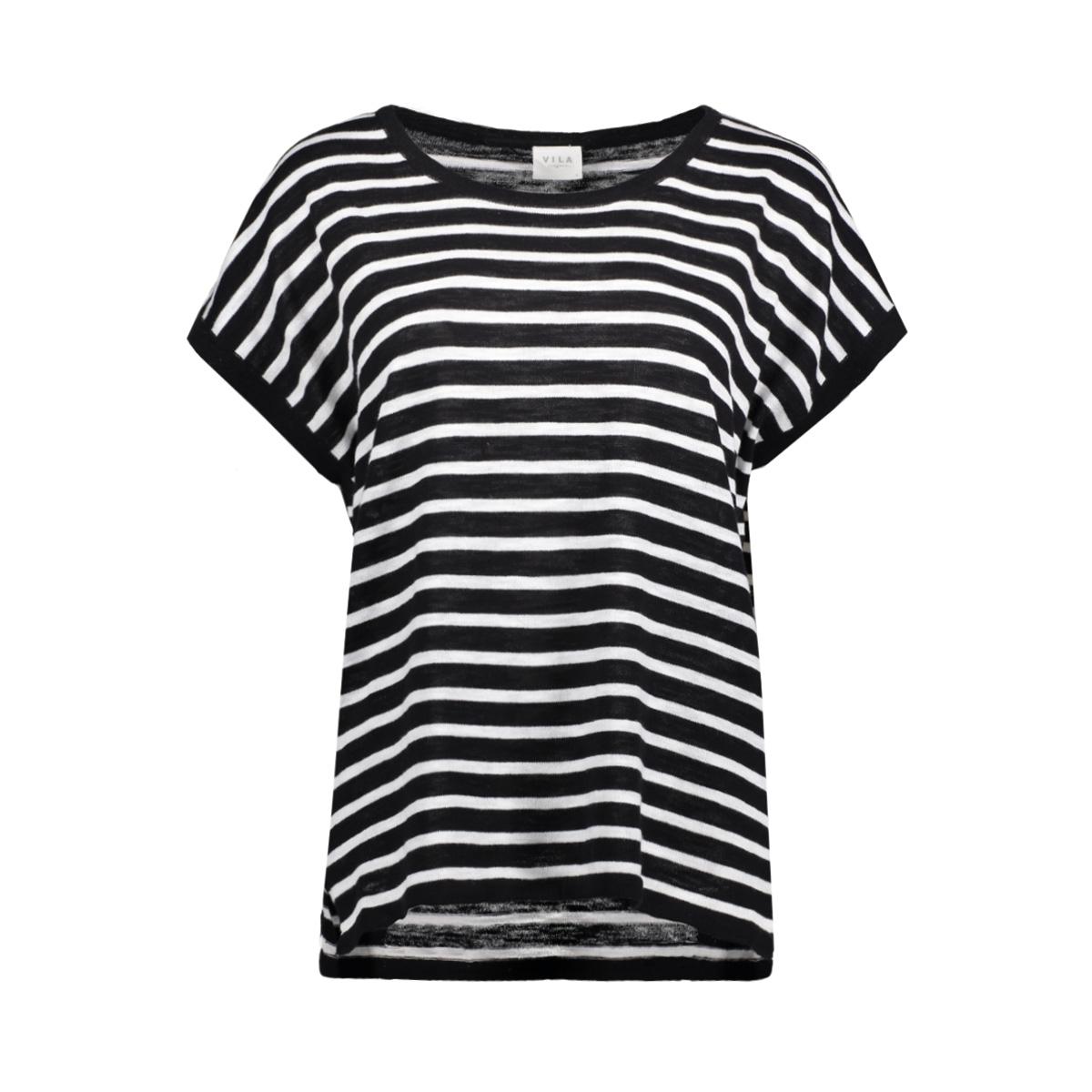 vistarly stripe s/s knit top/1 14043689 vila t-shirt black/cloud danc
