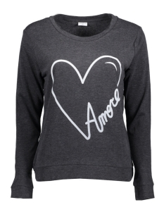 Jacqueline de Yong Sweater JDYMILLY L/S PRINT SWEAT SWT RPT 15133660 Dark Grey Melange/ Heart Amore
