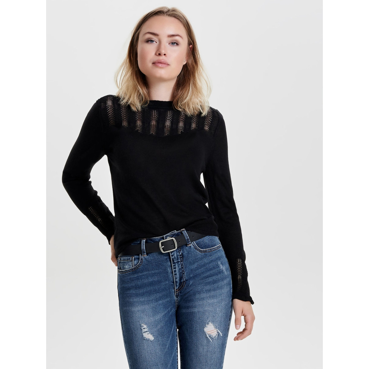 onlrikka l/s pullover knt 15139902 only trui black