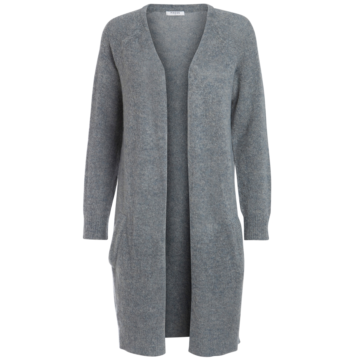 pcjane ls long wool cardigan noos 17082985 pieces vest medium grey melange