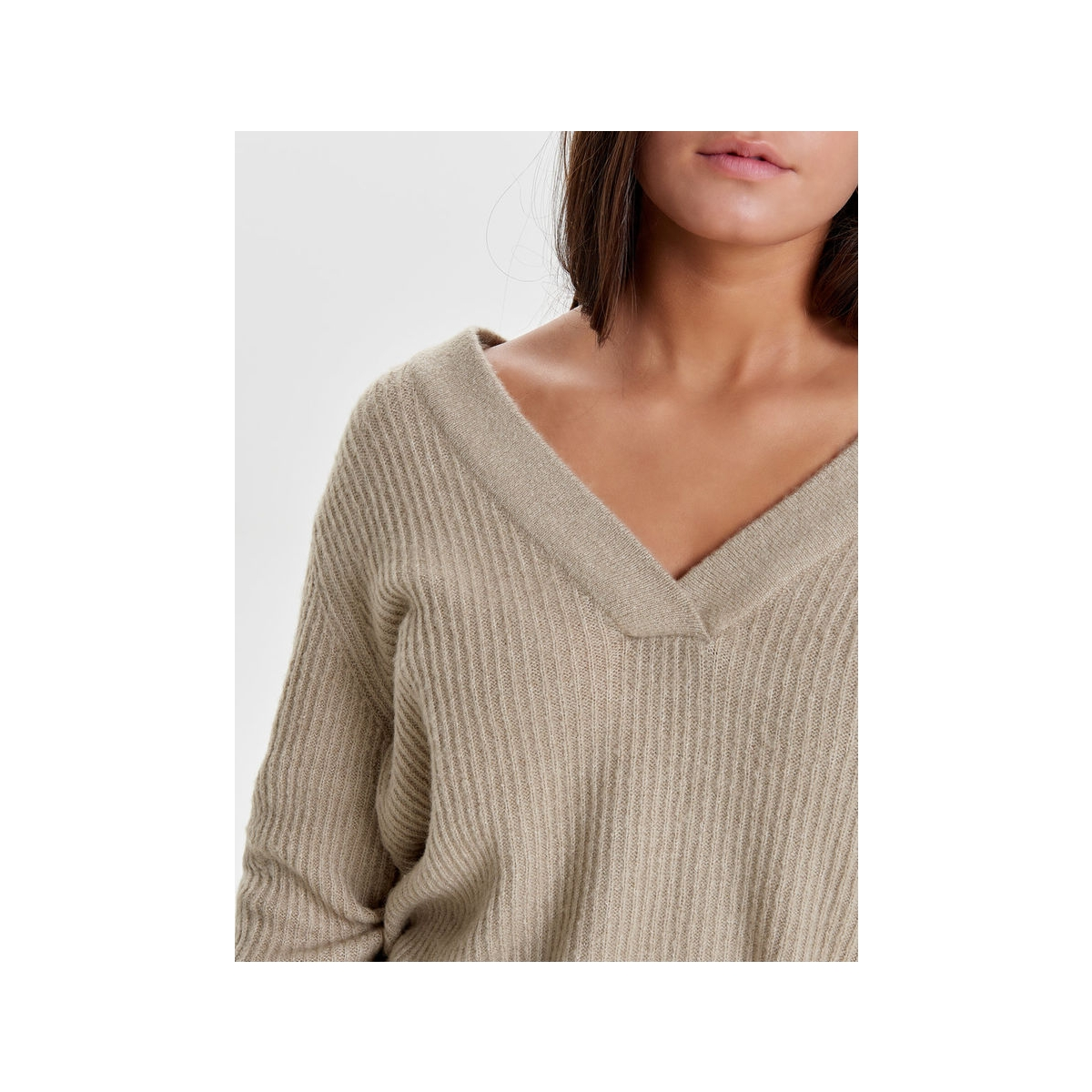 jdygold l/s v-neck pullover knt 15133644 jacqueline de yong sweater simply taupe