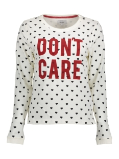 Only Sweater onlAMINA L/S PRINT BOX SWT 15143361 Cloud Dancer/BLACK HEAR