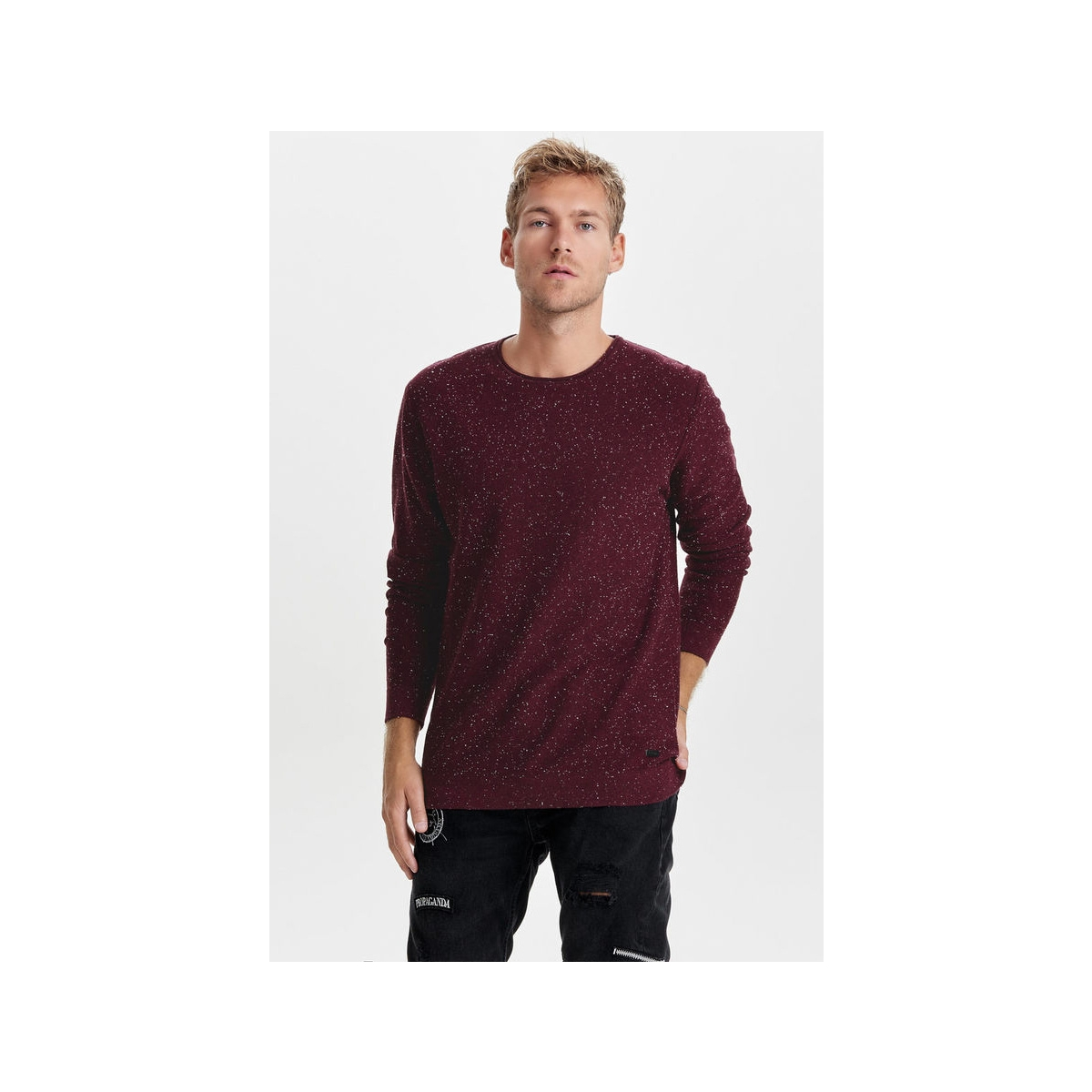 onsdian naps crew neck knit noos 22003869 only & sons trui fudge