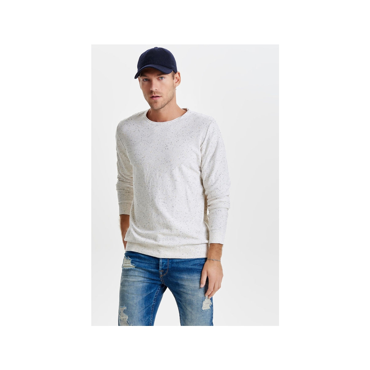onsdian naps crew neck knit noos 22003869 only & sons trui cloud dancer