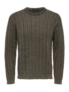 Only & Sons Trui onsHUGO WASHED KNIT 22007438 Dusky Green