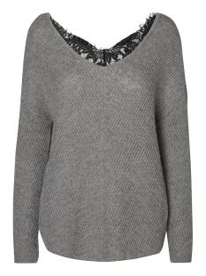 Vero Moda Trui VMBUENA LENA L/S V-NECK BLOUSE 10182595 Medium Grey Mel/Black Lace