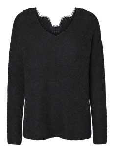 Vero Moda Trui VMBUENA LENA L/S V-NECK BLOUSE 10182595 Black Beauty/ Black Lace
