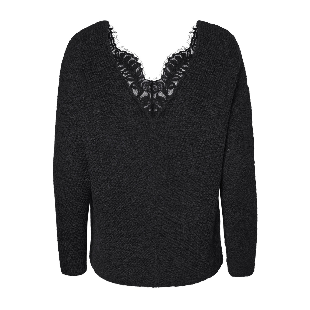 vmbuena lena l/s v-neck blouse 10182595 vero moda trui black beauty/ black lace