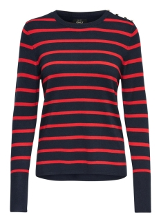 onldina l/s stripe pullover knt noos 15142903 only trui night sky/w. red str