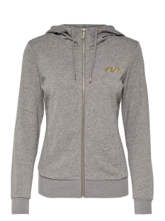 Only Play Sport vest onpGOLD GLITTER ZIP HOOD SWEAT 15135101 Medium Grey Mel/Gold