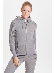 onpgold glitter zip hood sweat 15135101 only play sport vest medium grey mel/gold