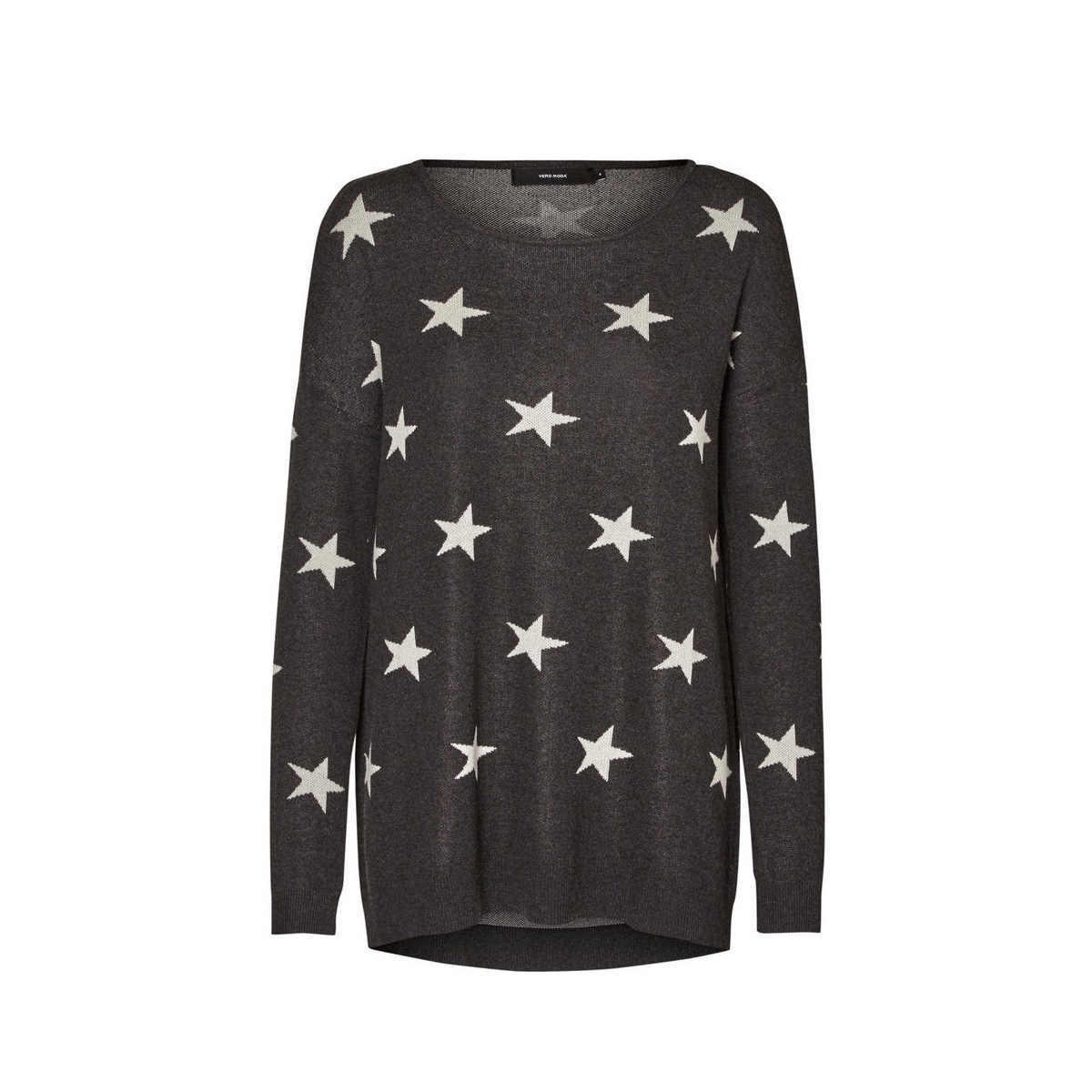 vmdotty oversize boatneck knit rep 10184920 vero moda trui dark grey melange