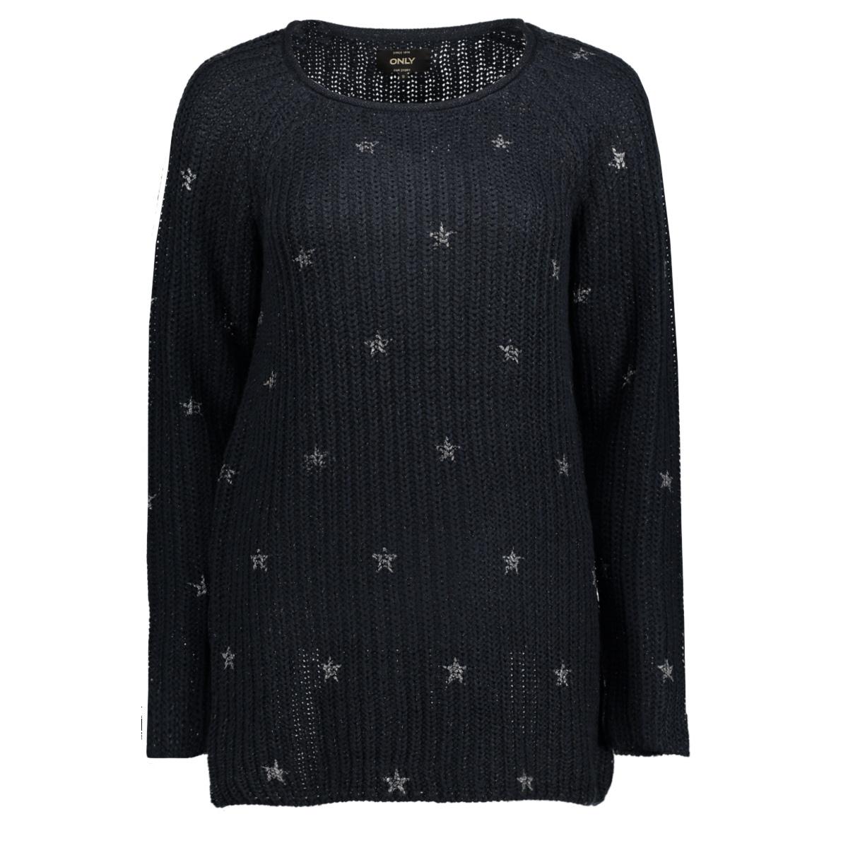 onlcathrine l/s long pullover knt 15140050 only trui sky captain/w gunmetal