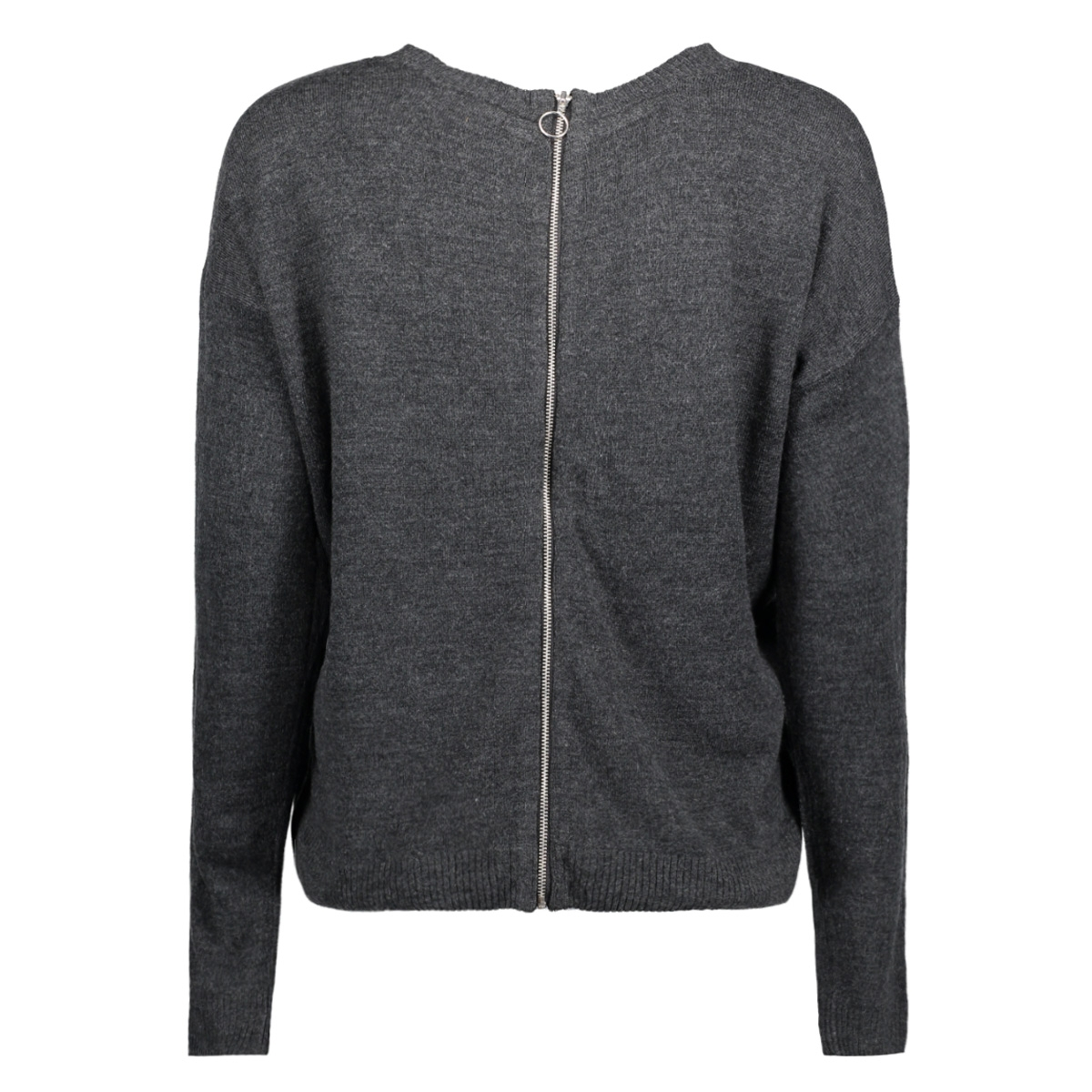 jdycox l/s zip pullover knt 15138654 jacqueline de yong trui dark grey melange