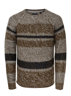 onsollan crew neck knit 22008062 only & sons trui grey pinstripe