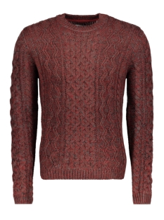 onsheath cable crew neck knit 22007784 only & sons trui merlot