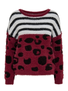 Only Trui onlPETRINE L/S PULLOVER KNT 15140004 Rumba Red/W.BLACK/C