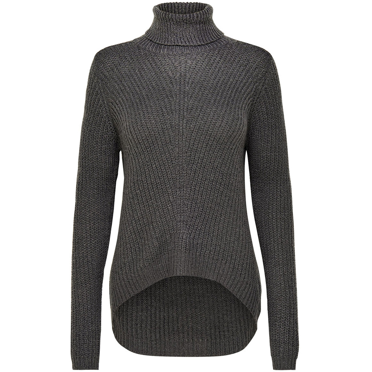 jdysanna l/s highneck pullover knt 15141006 jacqueline de yong trui dark grey melange