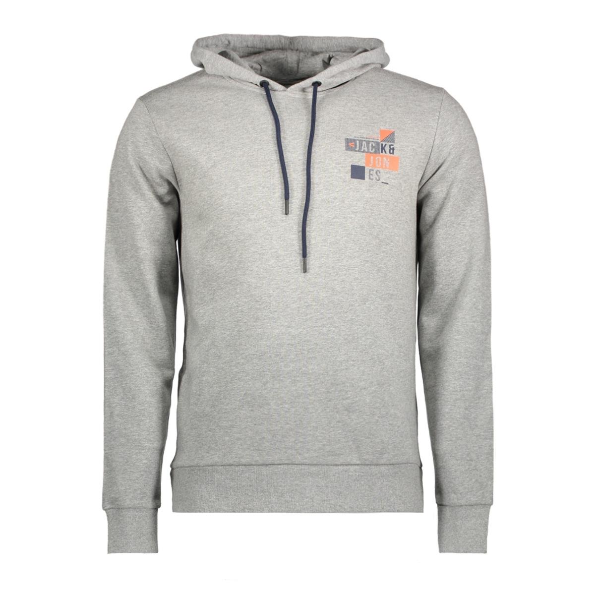 jcobooster sweat hood 0011 12137596 jack & jones sweater light grey melange