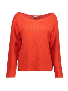 Noisy may Trui NMABBEY L/S OPEN SHOULDER KNIT TOP 27000258 Flame Scarlet