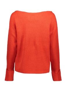 nmabbey l/s open shoulder knit top 27000258 noisy may trui flame scarlet