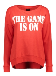Only Sweater onlHOPE L/S BOATNECK FRIDAY/GAME SWT 15156834 Flame Scarlet/THE GAME I
