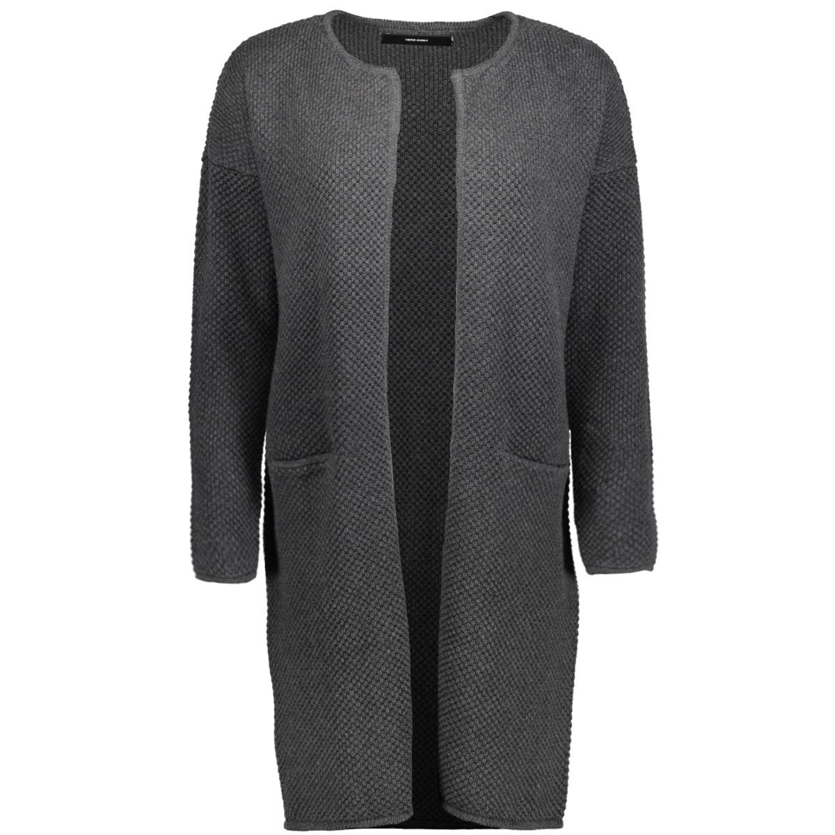 vmlise ls o-neck coatigan noos 10168088 vero moda vest dark grey melange