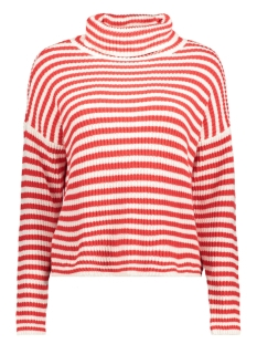 Noisy may Trui NMHARLEY L/S FUNNEL NECK KNIT JUMPER 27000668 Flame Scarlet/WHITE